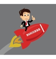 businessman flying on the rocket vector image