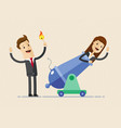 businessman is setting on fire the cannon to fly vector image