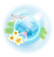 concept travel with airplane globe vector image vector image