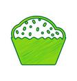 cupcake sign lemon scribble icon on white vector image