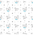 cute cats faces seamless pattern vector image vector image