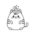 cute happy smiling unicorn cat vector image vector image
