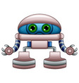 cute robot cartoon with green eyes isolated on whi vector image vector image