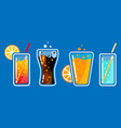 different colored glasses with soda drinks with vector image