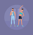 fitness couple doing exercise vector image vector image