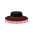 flat icon of black spanish hat with red vector image vector image