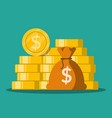 flat money bag with gold coins stack vector image vector image