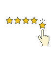giving five stars rating linear on vector image vector image