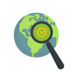 global market search icon flat style vector image vector image
