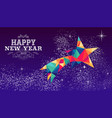 happy new year 2019 star triangle hipster color vector image