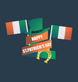 happy st patricks day festive design with clover vector image vector image