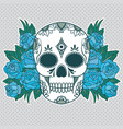 isolated a skull with roses and leaves vector image vector image