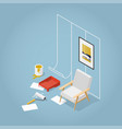 isometric concept home renovation vector image vector image