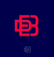 logo d b monogram red interlocking letters vector image vector image