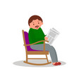 man sitting in rocking chair man leisure time vector image vector image