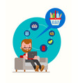 man sitting on couch ordering groceries online vector image vector image