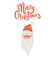 merry christmas greeting card with happy santa vector image