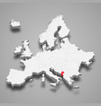 montenegro country location within europe 3d map vector image vector image
