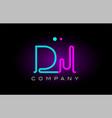 neon lights alphabet dj d j letter logo icon vector image