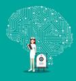 nurse and intellligent robot with brain mechanism vector image vector image