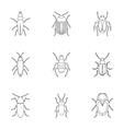 Order coleoptera icons set outline style vector image