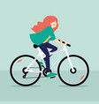 redhead girl riding bicycle vector image