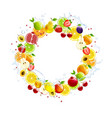 round banner of fresh fruits vector image