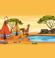 scene with horse at campground vector image vector image