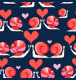seamless bright pattern loving snails vector image vector image