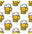 Seamless pattern of tankards with frothy beer vector image vector image