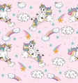 seamless pattern with funny unicorns pink vector image vector image