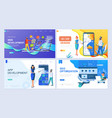 set landing page template header template vector image