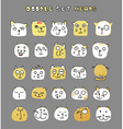 Set of cute doodle cats Funny animals Isolated cat vector image vector image
