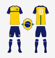 Soccer kit football jersey template for Brazil vector image vector image