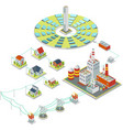 Solar power system 3D isometric electricity vector image vector image