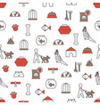 thin line art pets seamless pattern vector image vector image