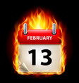 thirteenth february in calendar burning icon on vector image vector image