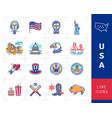 usa linear icons colorful infographics american vector image vector image