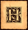 vintage initial letter h with baroque decorations vector image vector image