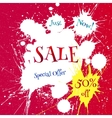 white blot with Sale tag over bright red vector image
