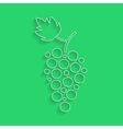 white outline grapes icon with shadow vector image
