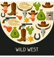 Wild west background with cowboy objects and vector image vector image