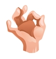 Hand OK sign in cartoon style isolated vector image