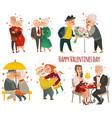 set of elder senior couples in love valentine set vector image
