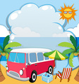 Border design with van on the beach vector image