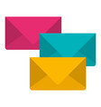white background with colorful set of envelopes of vector image