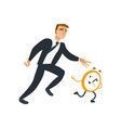 businessman and time theme with late business vector image vector image