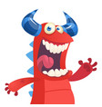 cartoon portrait of yelling red monster dragon vector image