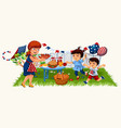cartoon red-haired mother carrying plate with vector image vector image