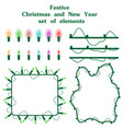 christmas and new year set of elements garlands of vector image vector image